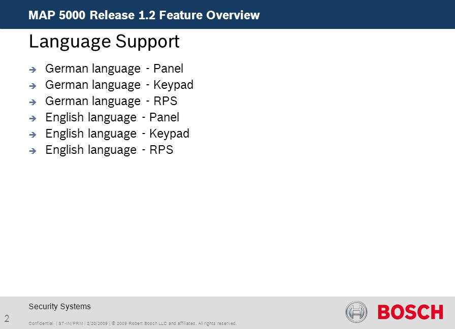 Language Support MAP 5000 Release 1.2 Feature Overview