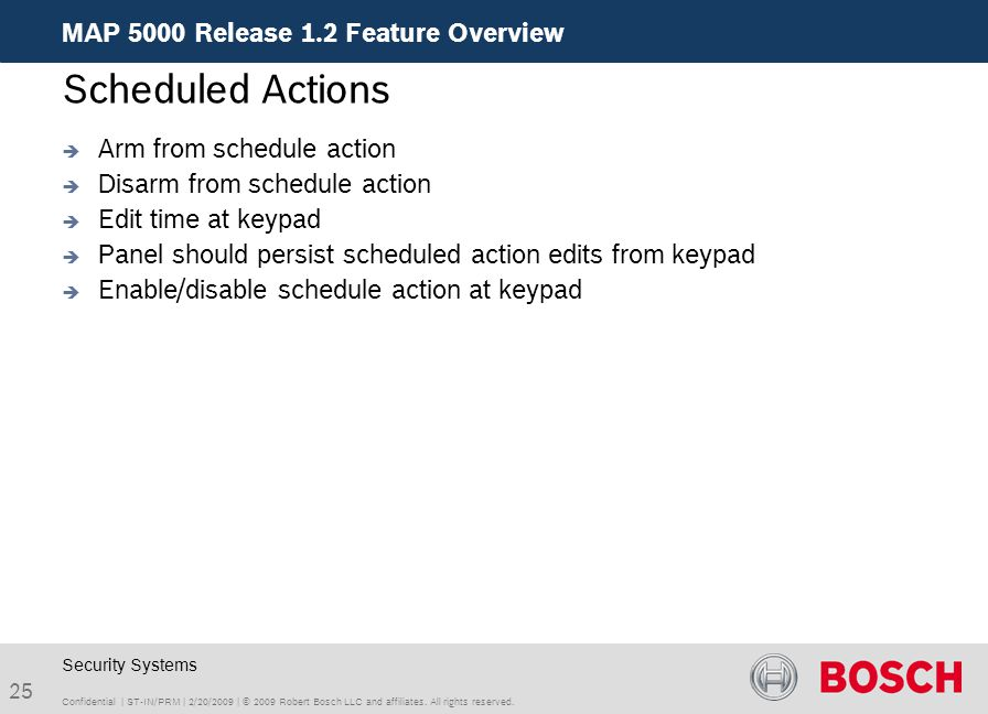 Scheduled Actions MAP 5000 Release 1.2 Feature Overview