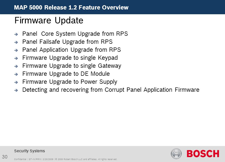 Firmware Update MAP 5000 Release 1.2 Feature Overview