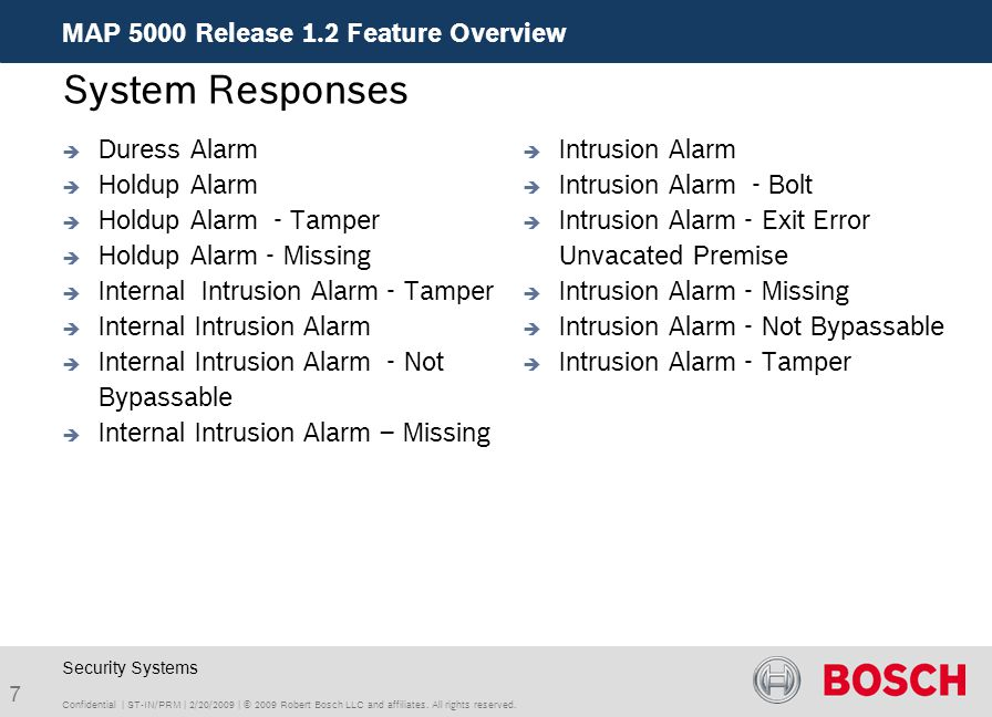 System Responses MAP 5000 Release 1.2 Feature Overview Duress Alarm