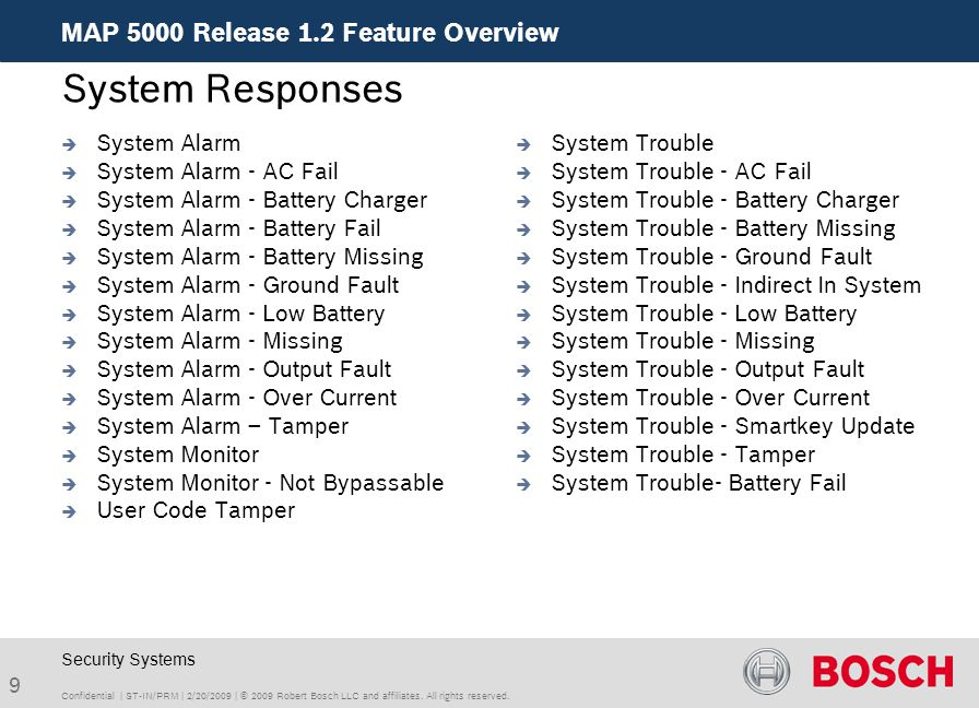 System Responses MAP 5000 Release 1.2 Feature Overview System Alarm