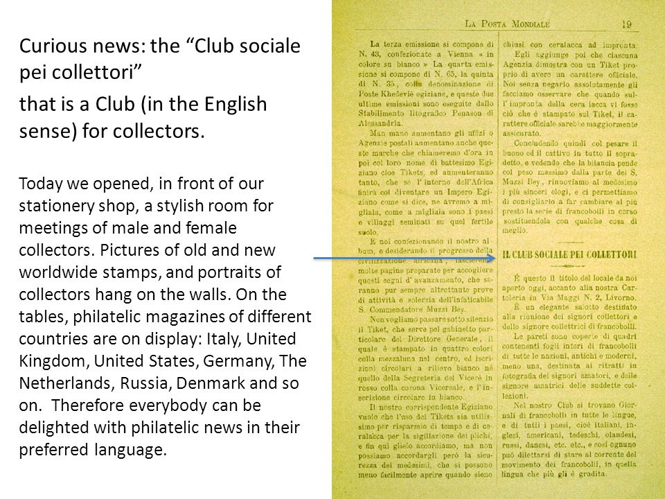 Curious news: the Club sociale pei collettori