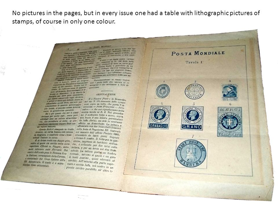 No pictures in the pages, but in every issue one had a table with lithographic pictures of stamps, of course in only one colour.