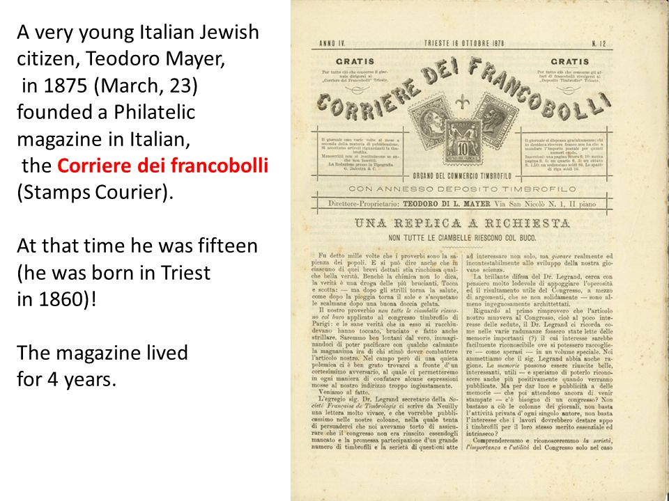 A very young Italian Jewish citizen, Teodoro Mayer,