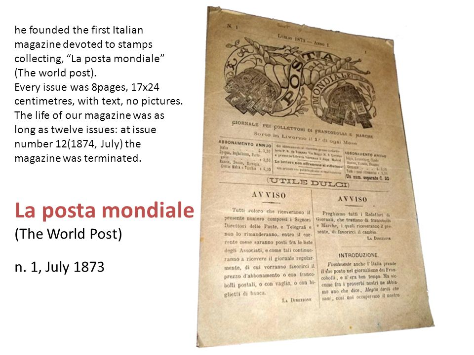 La posta mondiale (The World Post) n. 1, July 1873