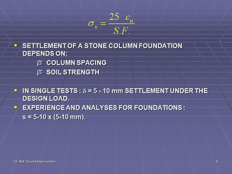 SETTLEMENT OF A STONE COLUMN FOUNDATION DEPENDS ON; COLUMN SPACING