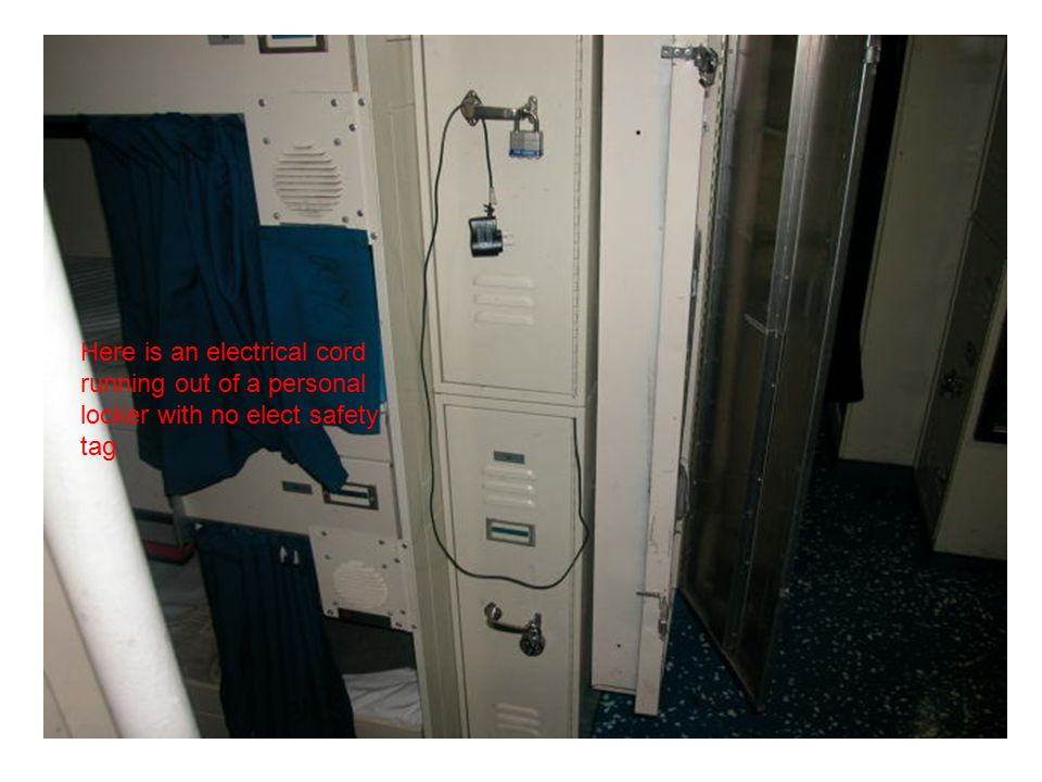 Here is an electrical cord running out of a personal locker with no elect safety tag