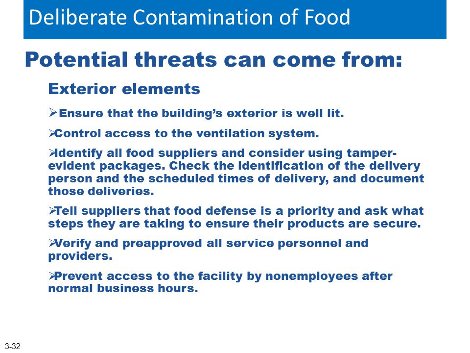 Deliberate Contamination of Food