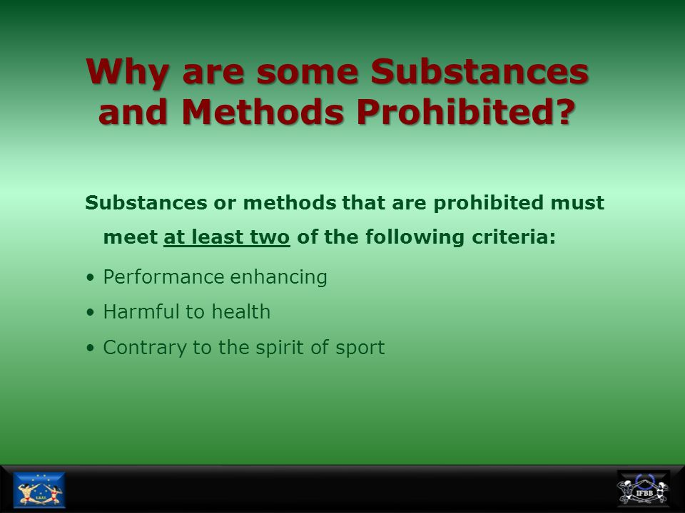 Why are some Substances and Methods Prohibited
