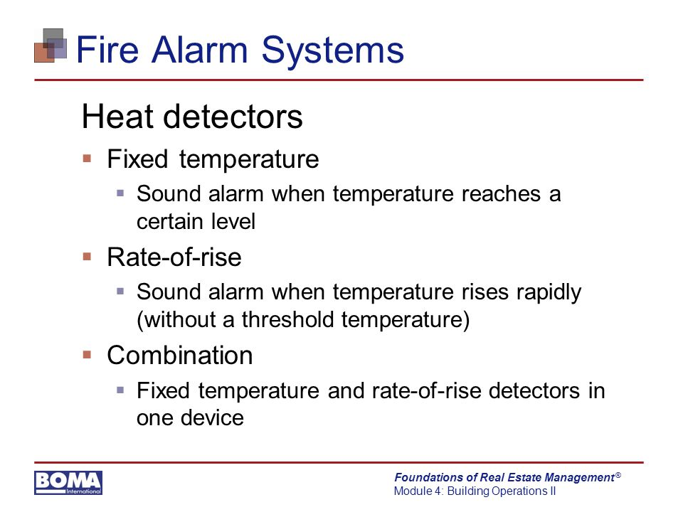 Fire Alarm Systems Heat detectors Fixed temperature Rate-of-rise