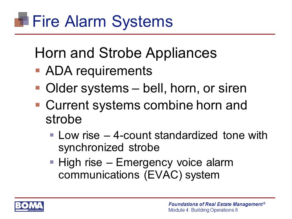 Fire Alarm Systems Horn and Strobe Appliances ADA requirements