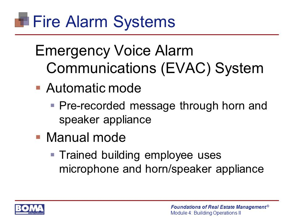 Fire Alarm Systems Emergency Voice Alarm Communications (EVAC) System