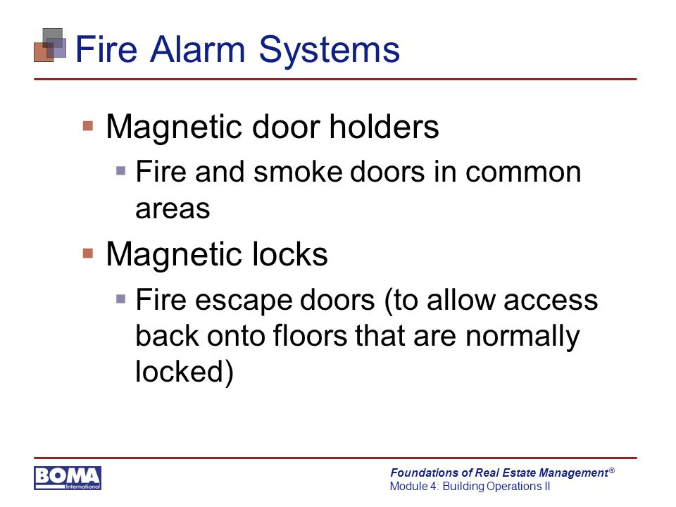 Fire Alarm Systems Magnetic door holders Magnetic locks