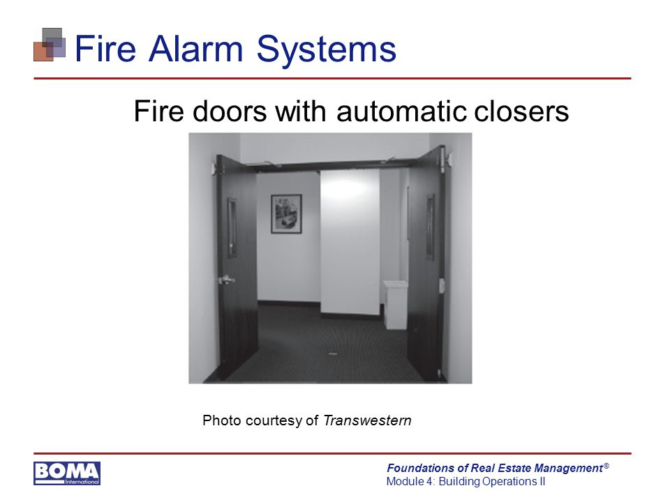 Fire doors with automatic closers