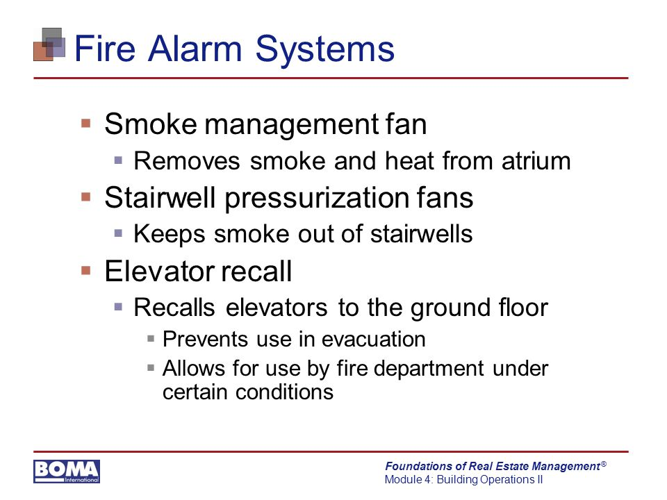 Fire Alarm Systems Smoke management fan Stairwell pressurization fans