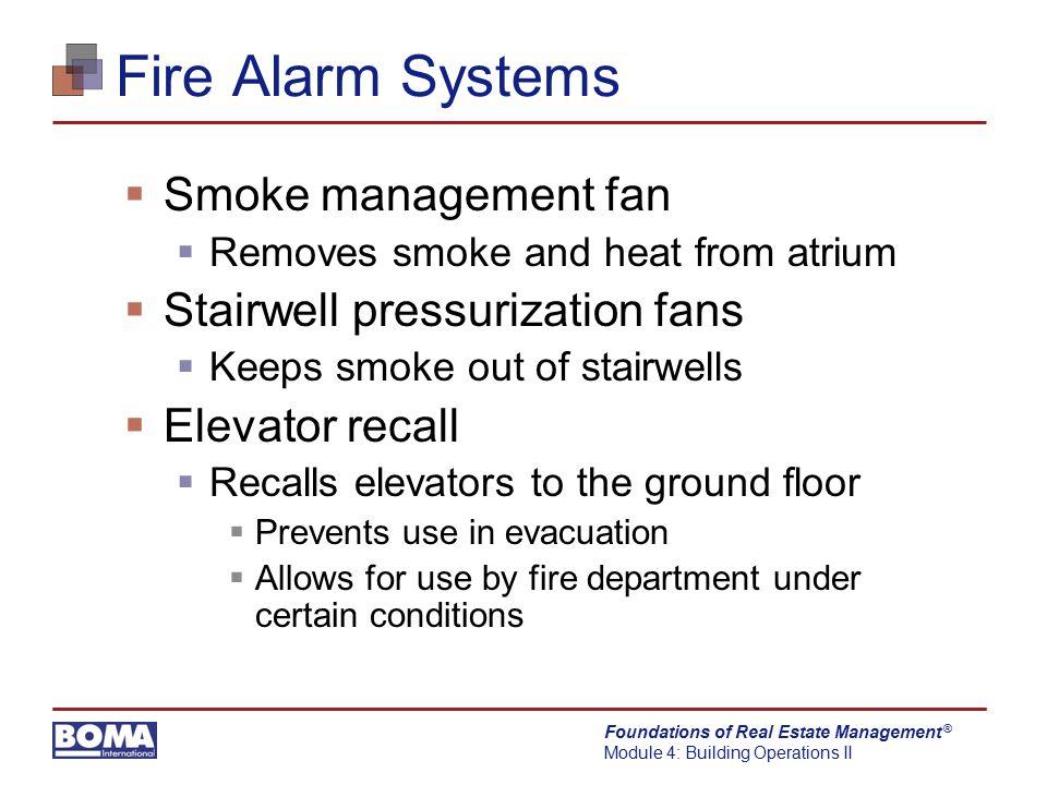 Fire Alarm Systems Smoke management fan Stairwell pressurization fans
