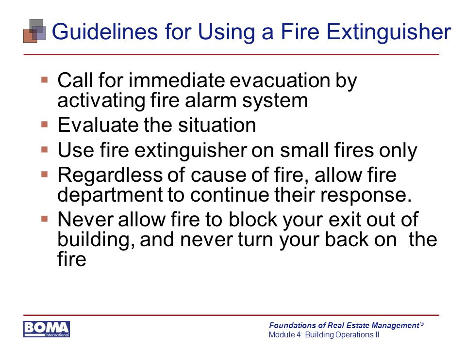 Guidelines for Using a Fire Extinguisher