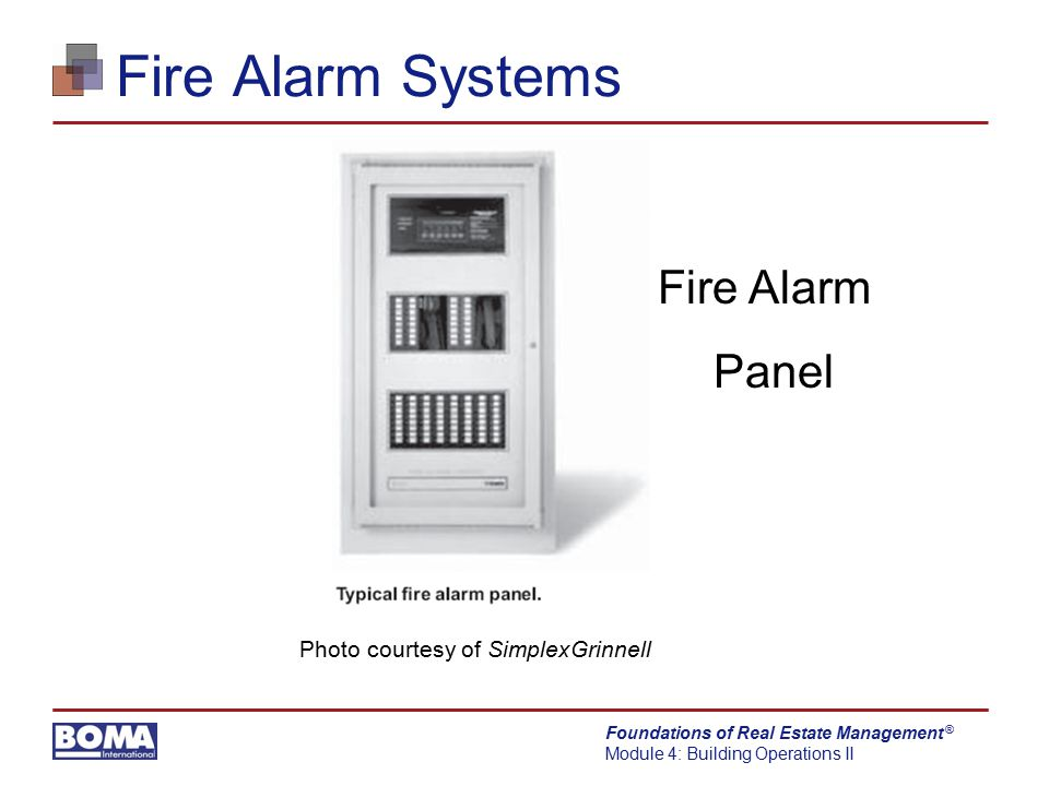 Fire Alarm Systems Fire Alarm Panel Photo courtesy of SimplexGrinnell