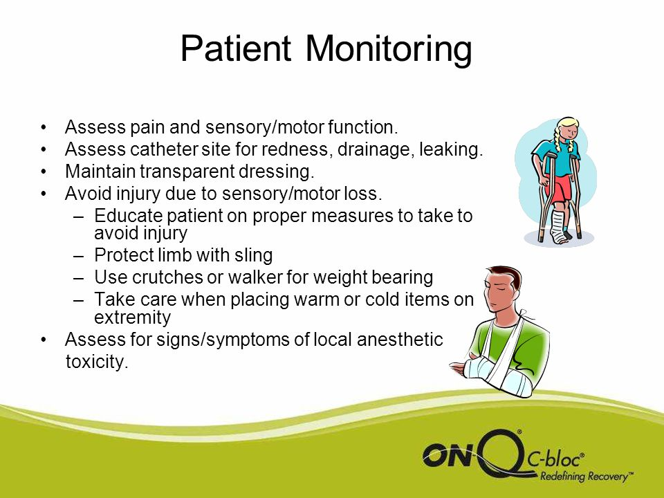 Patient Monitoring Assess pain and sensory/motor function.