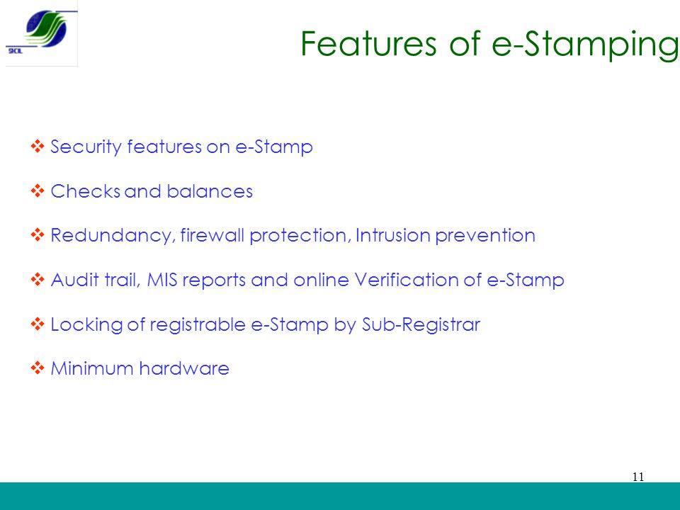 Features of e-Stamping