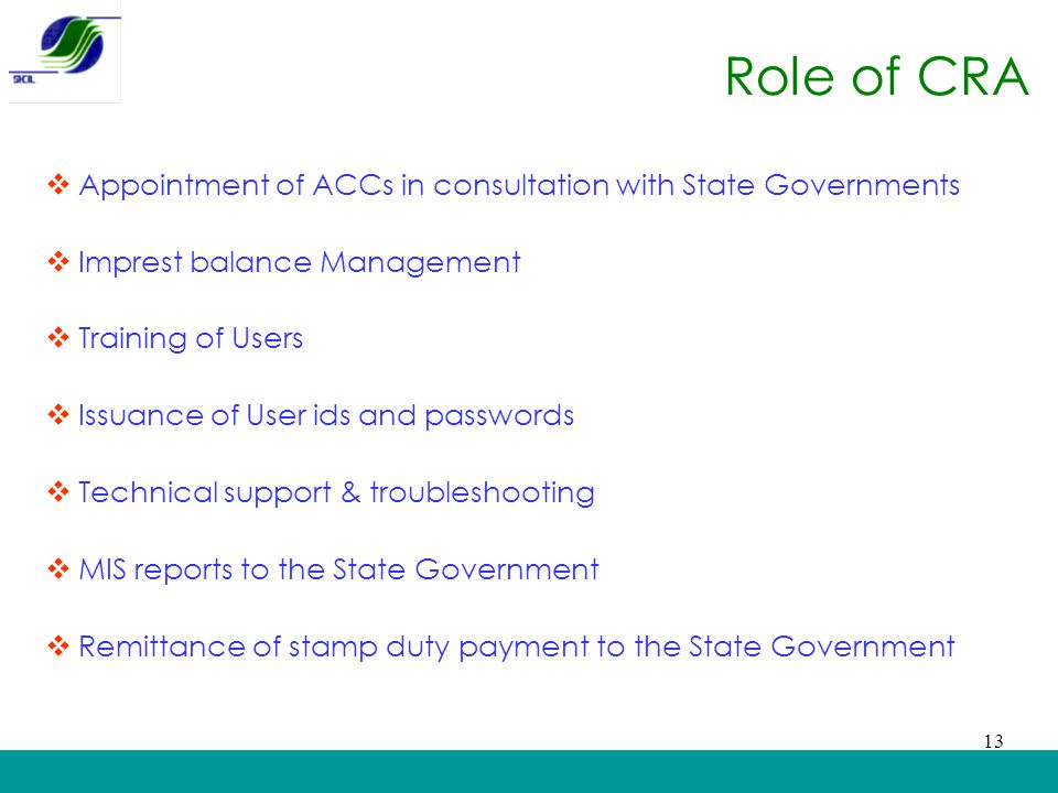Role of CRA Appointment of ACCs in consultation with State Governments