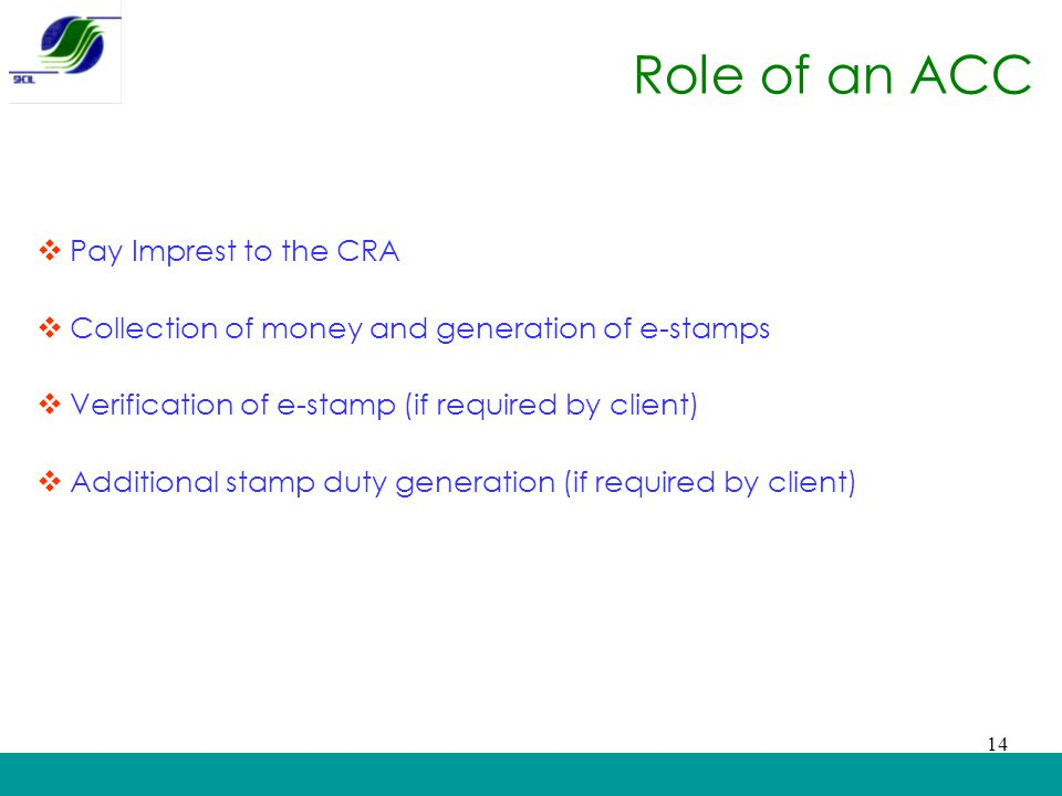 Role of an ACC Pay Imprest to the CRA