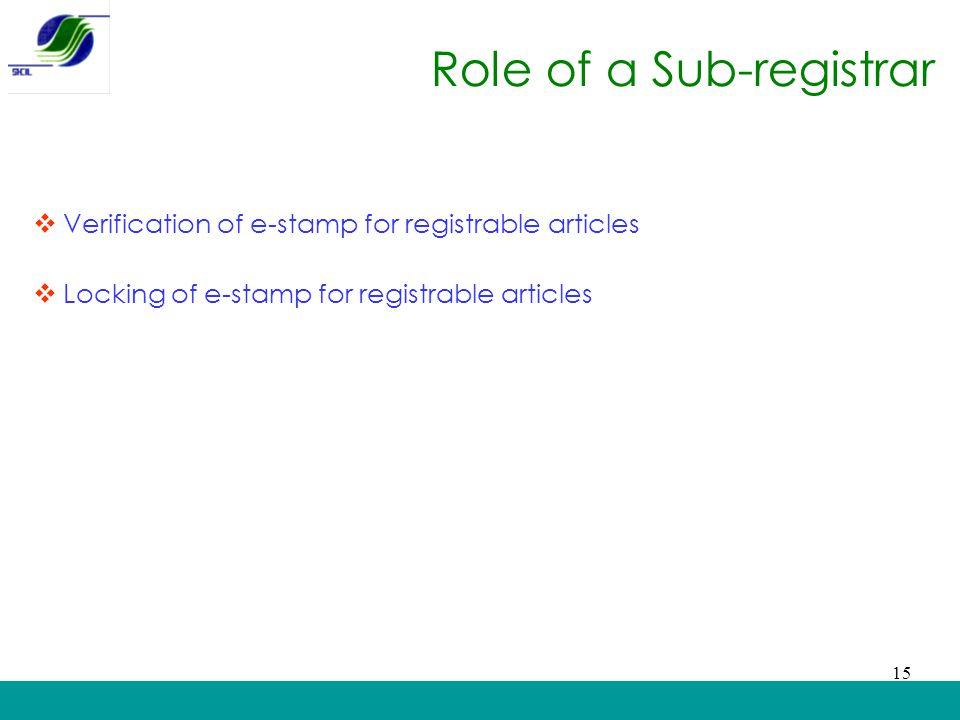 Role of a Sub-registrar