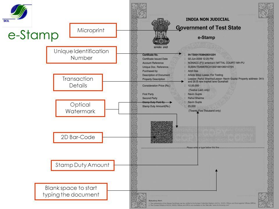 e-Stamp Microprint Unique Identification Number Transaction Details