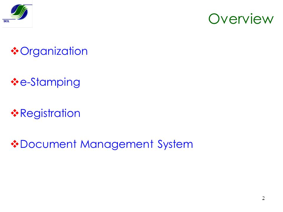 Overview Organization e-Stamping Registration
