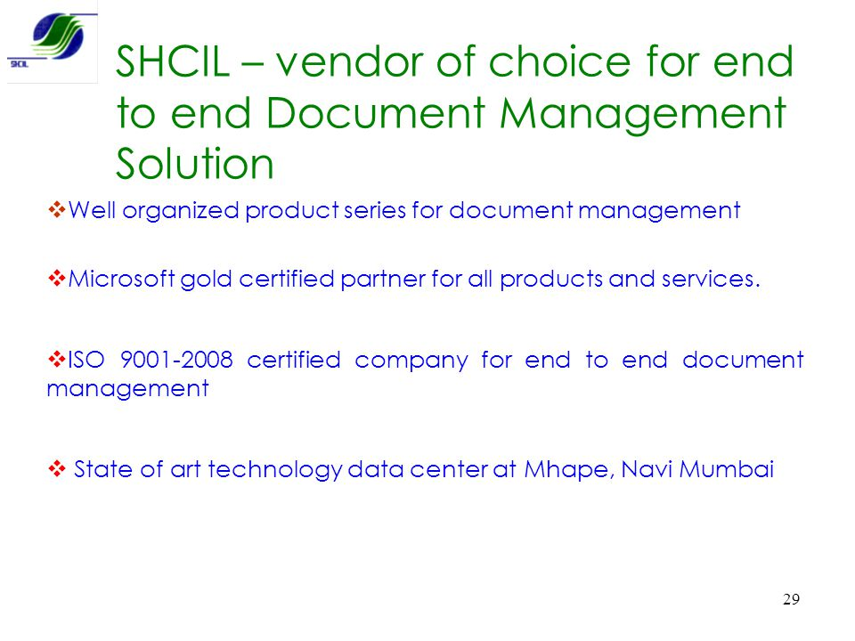 SHCIL – vendor of choice for end to end Document Management Solution