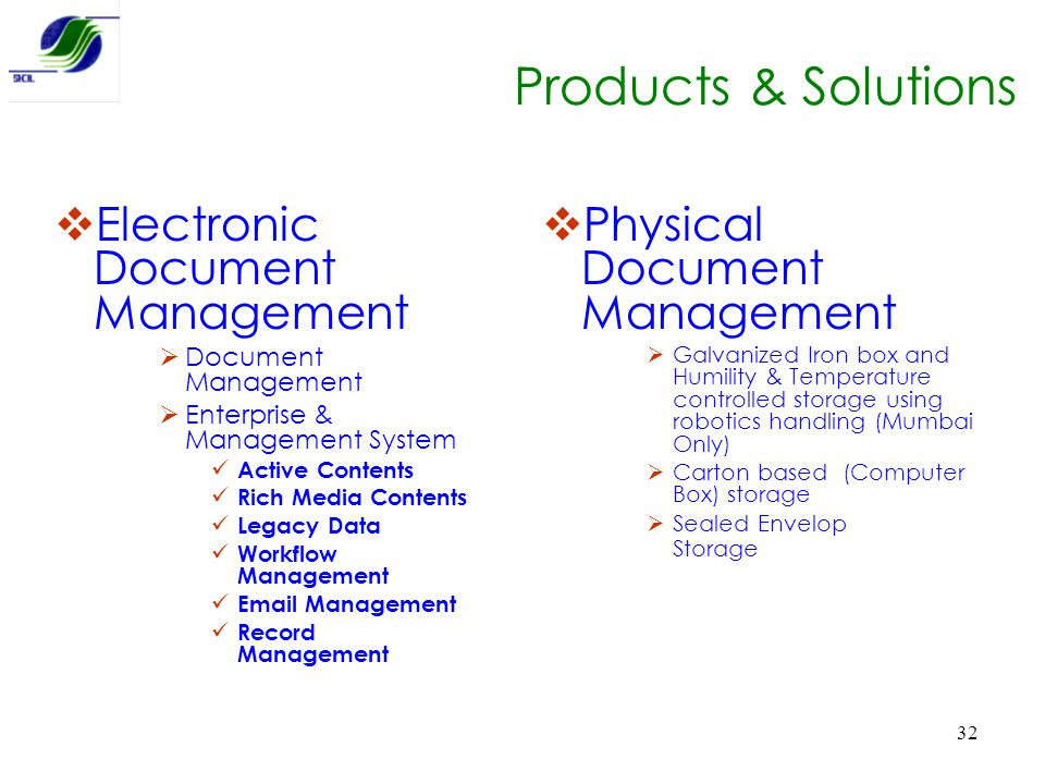 Products & Solutions Electronic Document Management