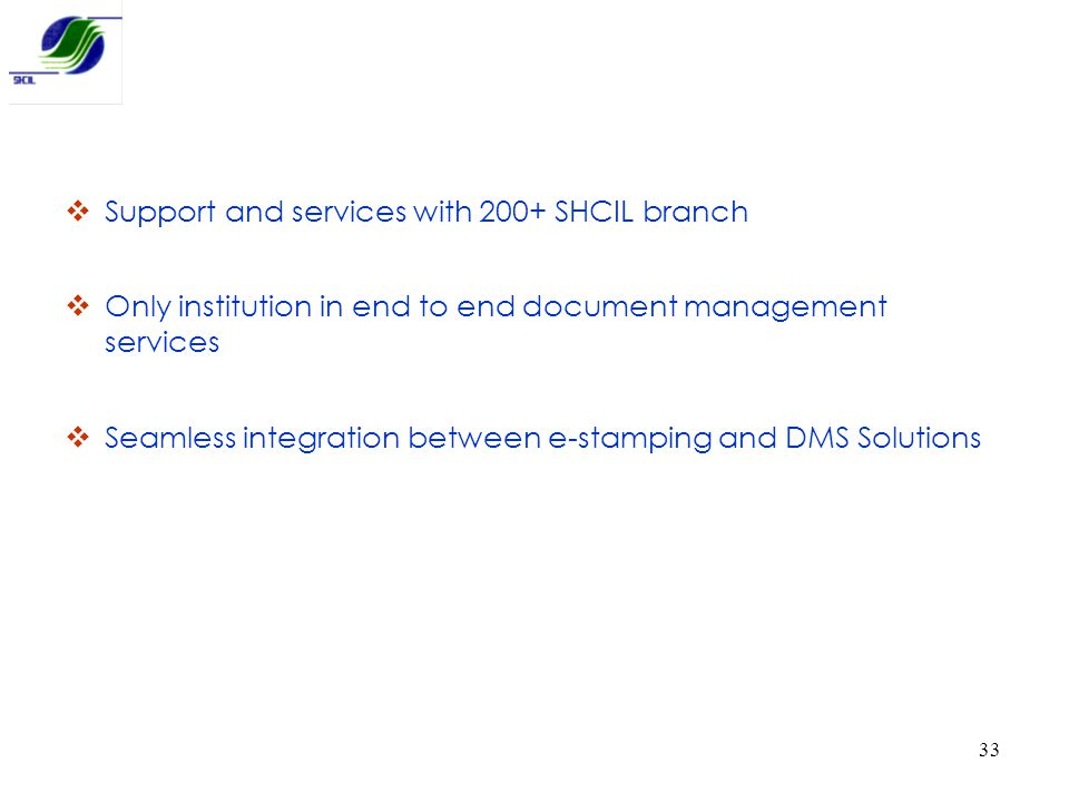 Support and services with 200+ SHCIL branch