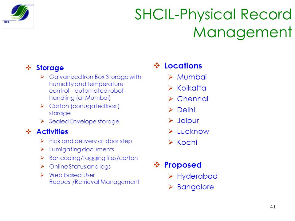 SHCIL-Physical Record Management