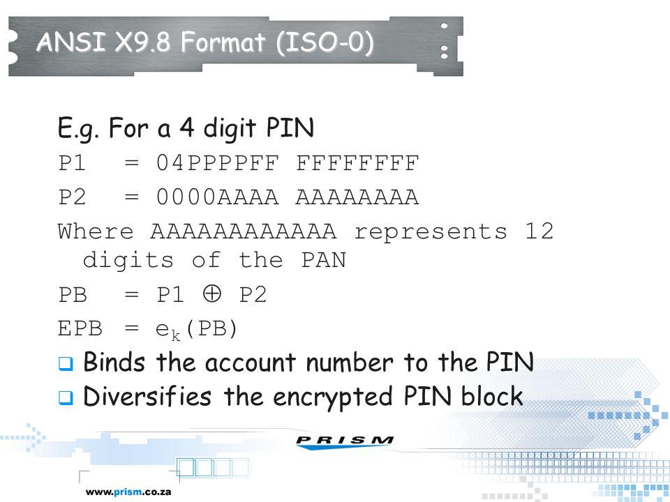ANSI X9.8 Format (ISO-0) E.g. For a 4 digit PIN. P1 = 04PPPPFF FFFFFFFF. P2 = 0000AAAA AAAAAAAA.