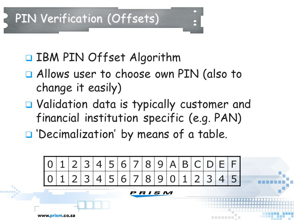 PIN Verification (Offsets)