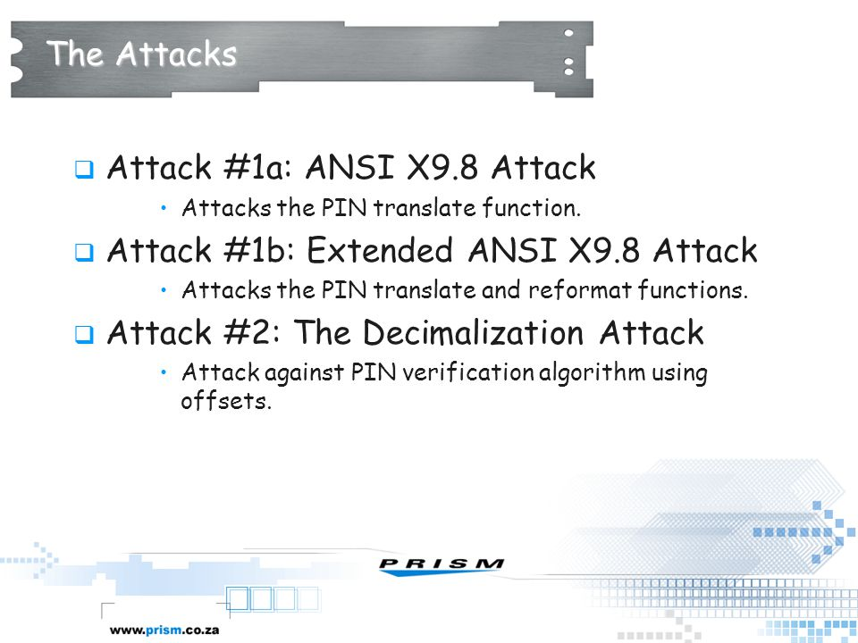Attack #1a: ANSI X9.8 Attack Attack #1b: Extended ANSI X9.8 Attack