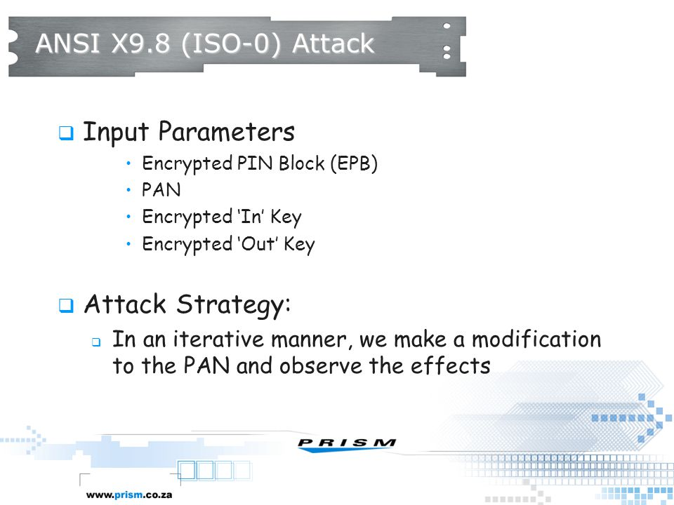 ANSI X9.8 (ISO-0) Attack Input Parameters Attack Strategy: