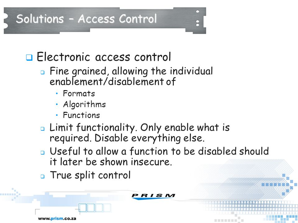 Solutions – Access Control
