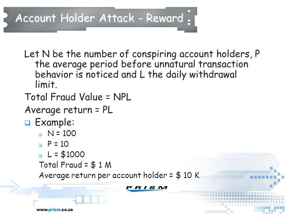 Account Holder Attack - Reward