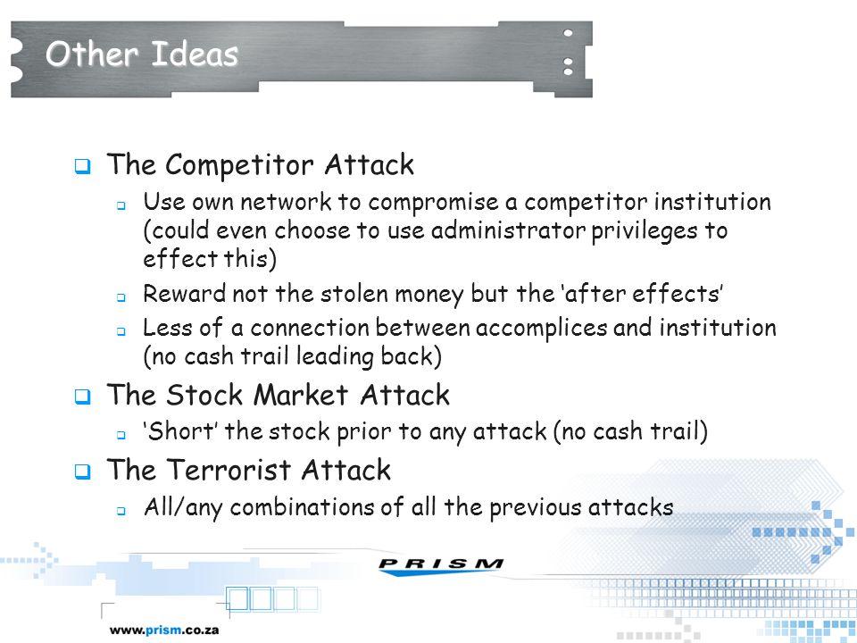 Other Ideas The Competitor Attack The Stock Market Attack