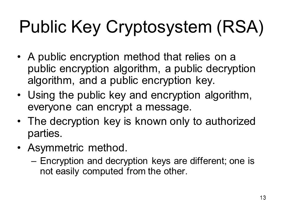 Public Key Cryptosystem (RSA)