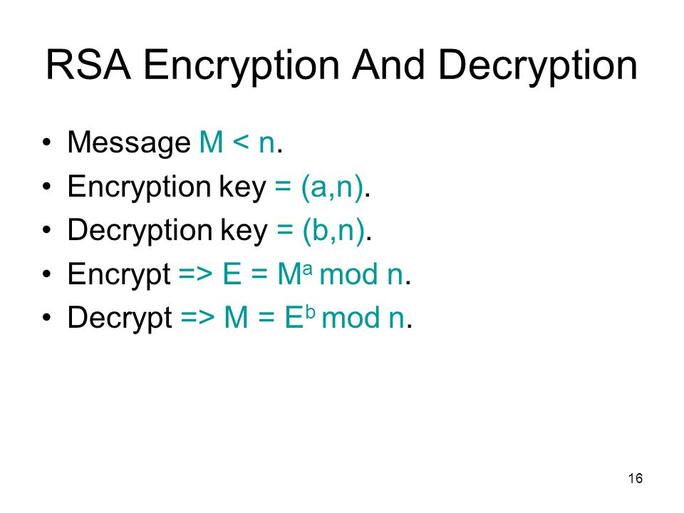 RSA Encryption And Decryption
