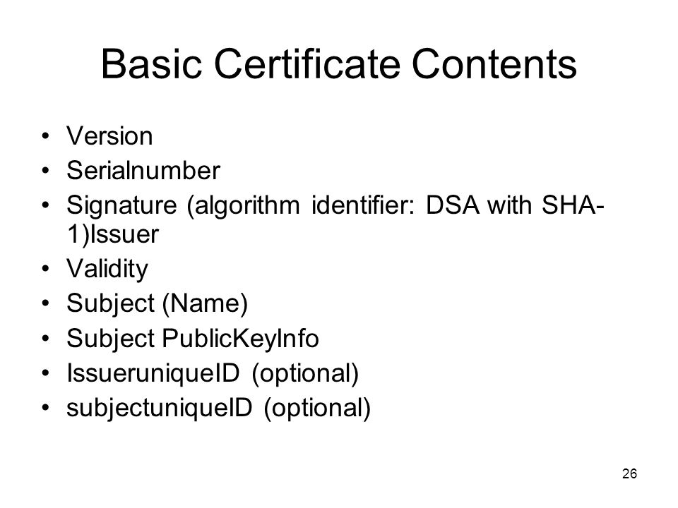 Basic Certificate Contents