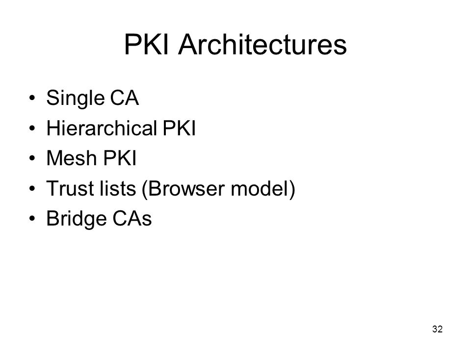 PKI Architectures Single CA Hierarchical PKI Mesh PKI