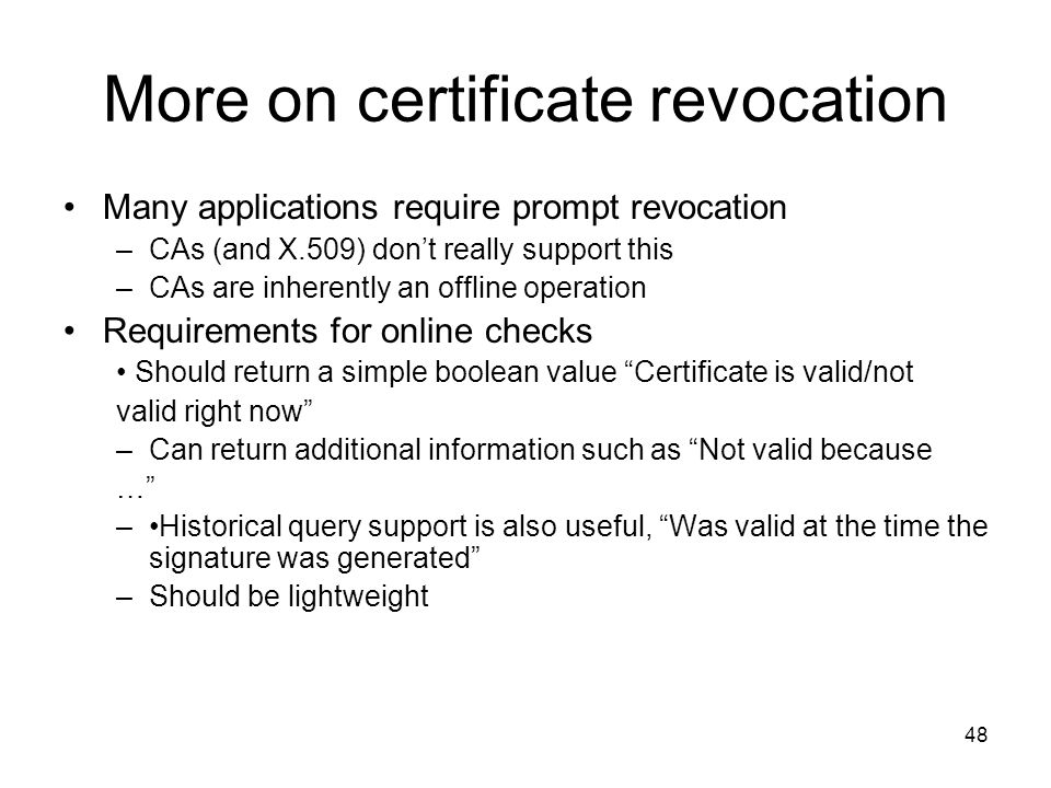 More on certificate revocation