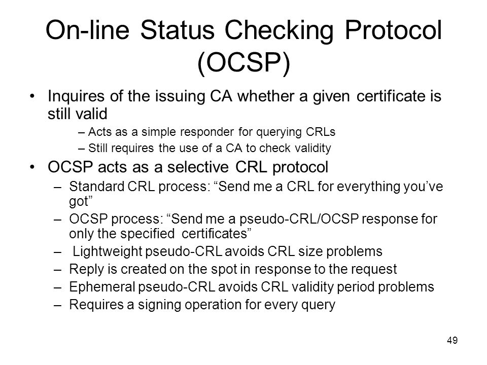 On-line Status Checking Protocol (OCSP)