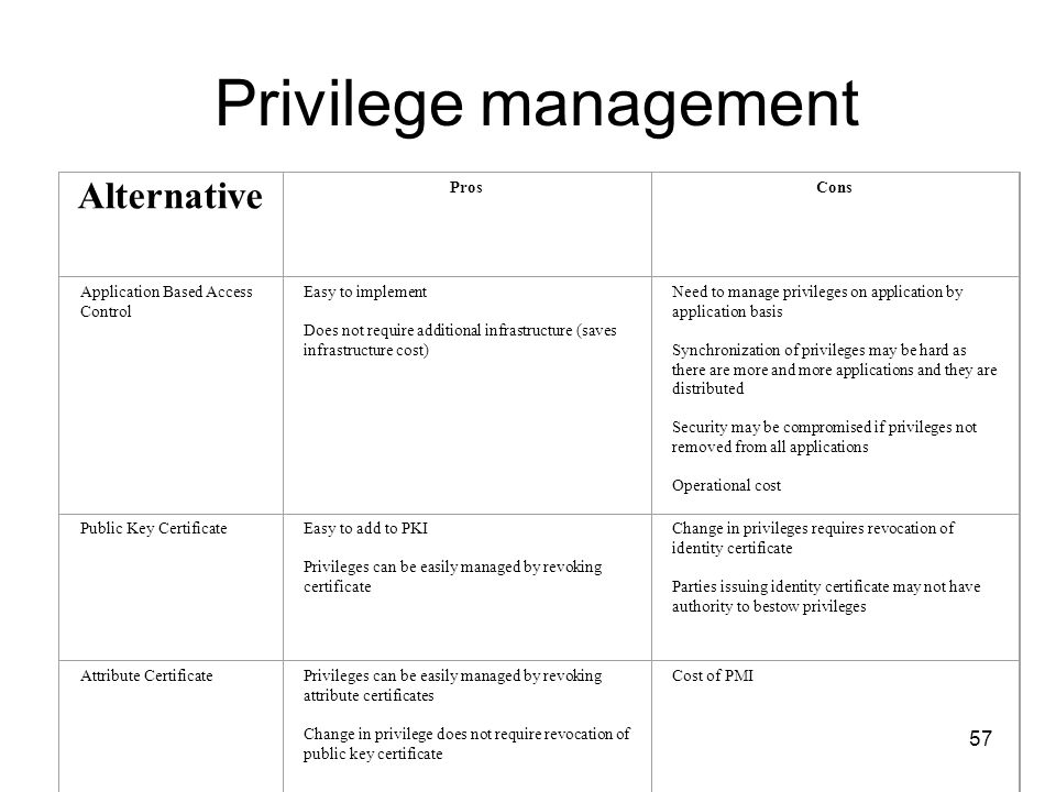 Privilege management Alternative Pros Cons
