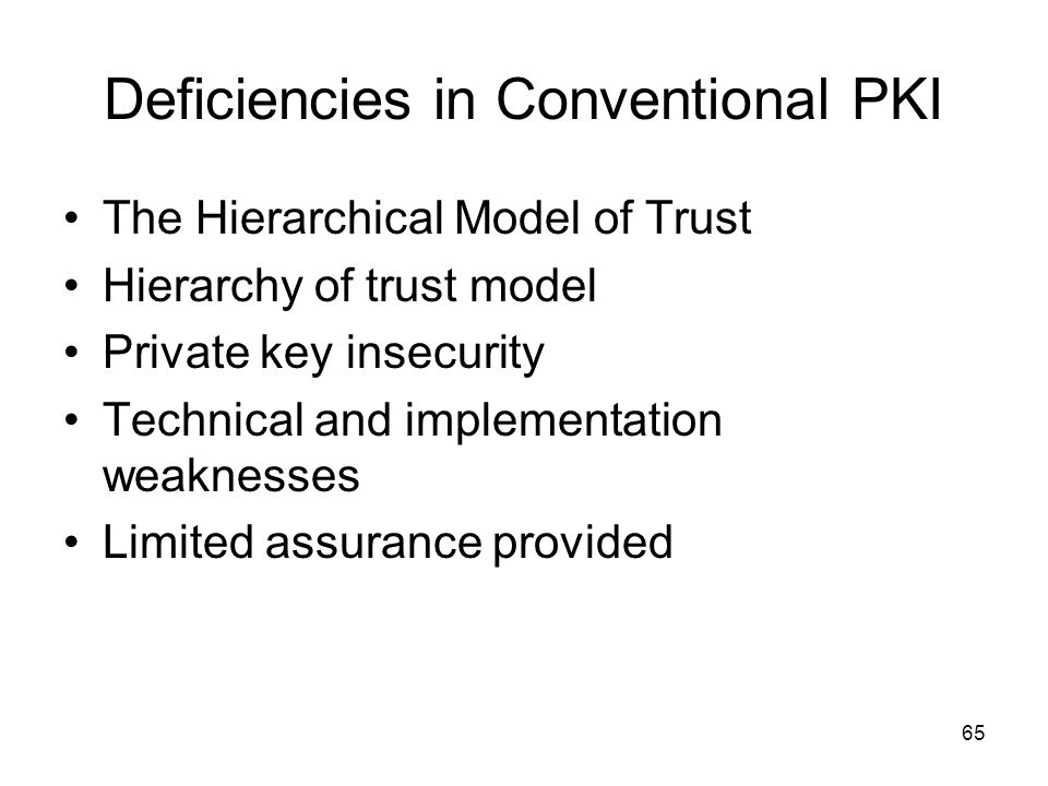 Deficiencies in Conventional PKI