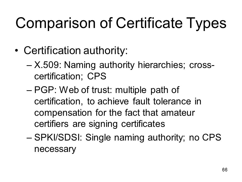 Comparison of Certificate Types
