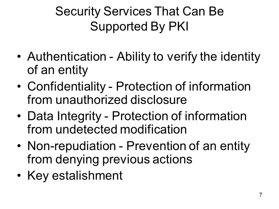 Security Services That Can Be Supported By PKI